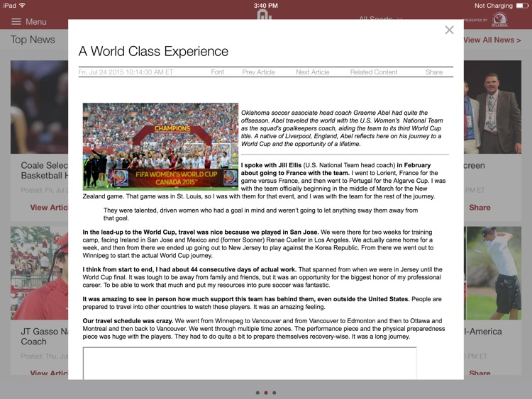 SoonerSports2Go for iPad