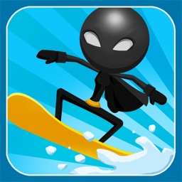 A Superhero Stickman Run - Amazing Mountain Snowboard Racer