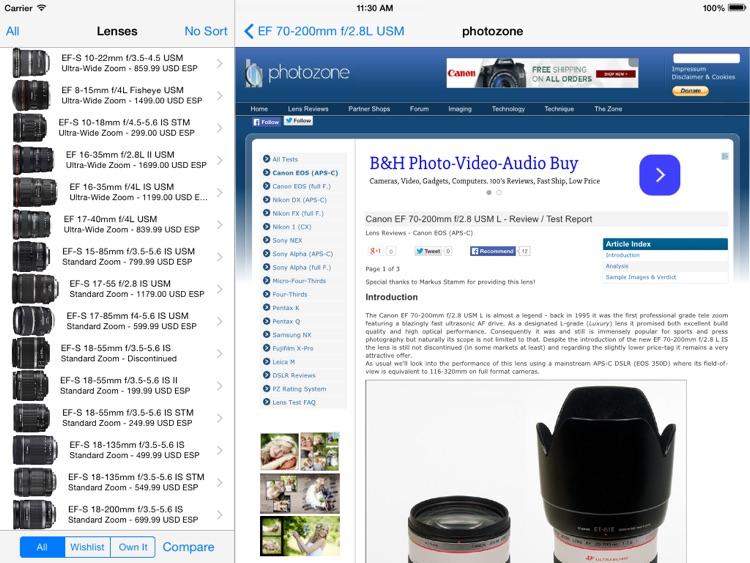 Canon Lenses+ screenshot-3