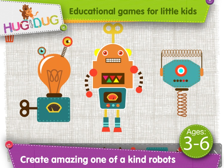 HugDug Robots - Little kids and toddlers build amazing robots and crazy machines
