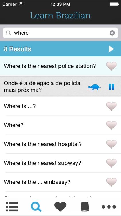 Learn Brazilian Portuguese - Phrasebook for Travel in Brazil screenshot-3