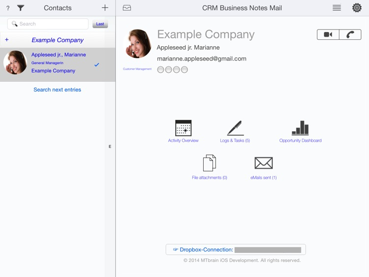 CRM Business Mail - eMail, Contacts and Notes for the professional Customer Relationship Management