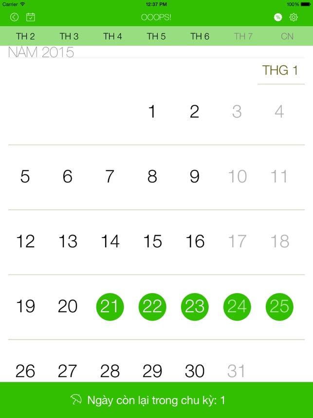 Ooops! lịch cho phụ nữ – tính toán chu kỳ hàng tháng và thời kỳ rụng trứng của bạn, tính toán chu kỳ kinh nguyệt, máy tính chu kỳ kinh nguyệt