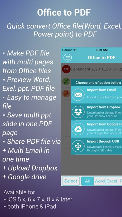 Office to PDF Free - Quick convert Word, Excel, PPT to PDF file Screenshot on iOS