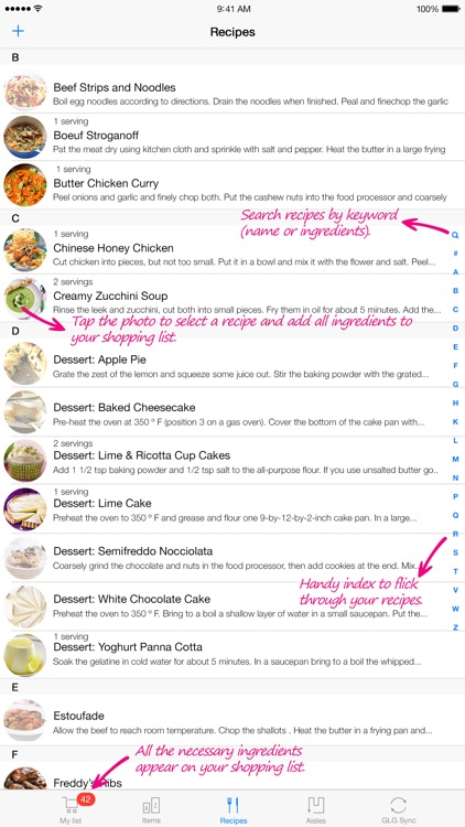 Grocery List Generator - Create shopping lists and store all your recipes. screenshot-3
