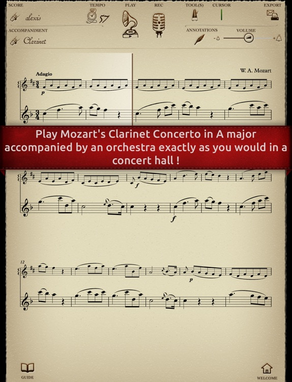 Play Mozart – Clarinet Concerto K622 (interactive sheet music for clarinet)