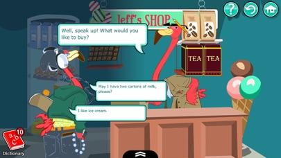 Screenshot of English for Kids – Mingoville School Edition include divertenti attività e giochi per l'apprendimento della lingua per bambini dai 6 ai 12 anni.2