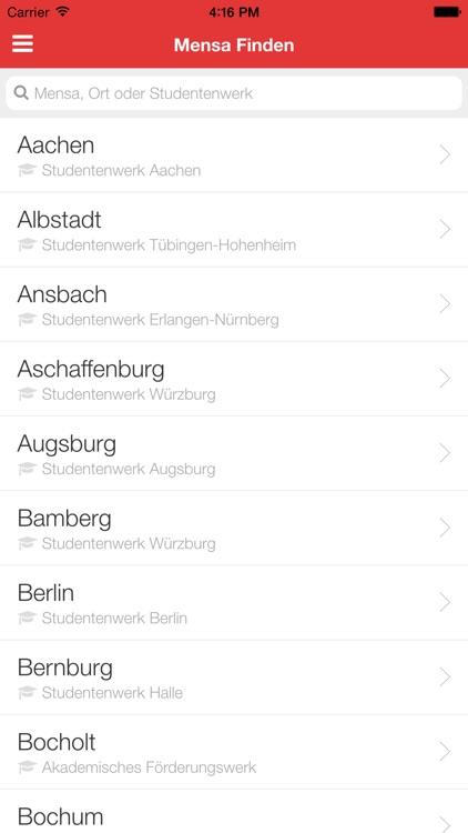 Meine Mensa - Speiseplan für alle Universitäten und Hochschulen in Deutschland