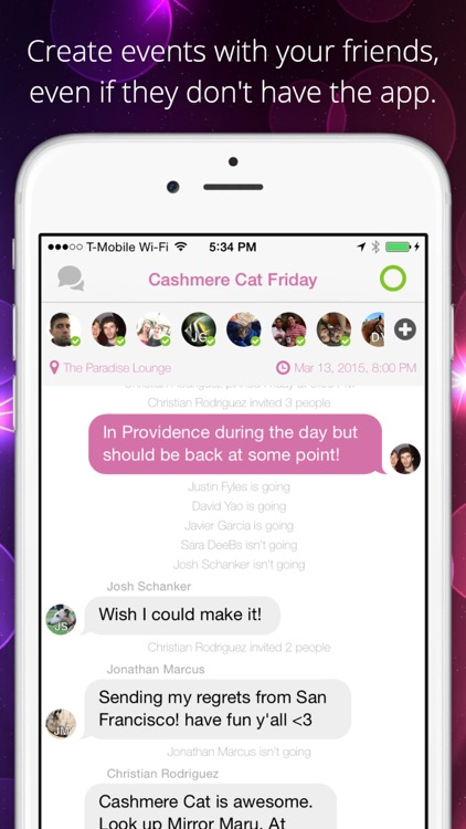 Cast - Plan parties & events and simply hang out
