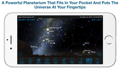 Screenshot #1 pour SkySafari 4 Plus: Map the Universe!  Discover Sun, Moon, Mars, Stars, Planets, and Satellites with your telescope and NASA space missions!