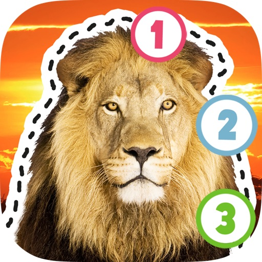 Kids Puzzle Teach me Tracing & Counting with Wild Animals Photo: Draw your own giraffe, zebra, hippo and lion and learn all about the safari