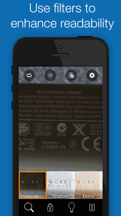 BigMagnify Free - Zooming Magnifier and Mirror with Flashlight Screenshot