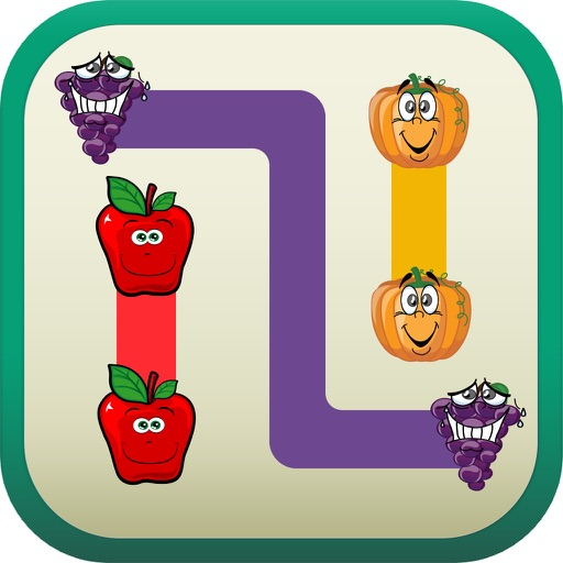 A Puzzle Game to Match  & Connect - Draw Line  between Same Pairs of Cartoon Fruits