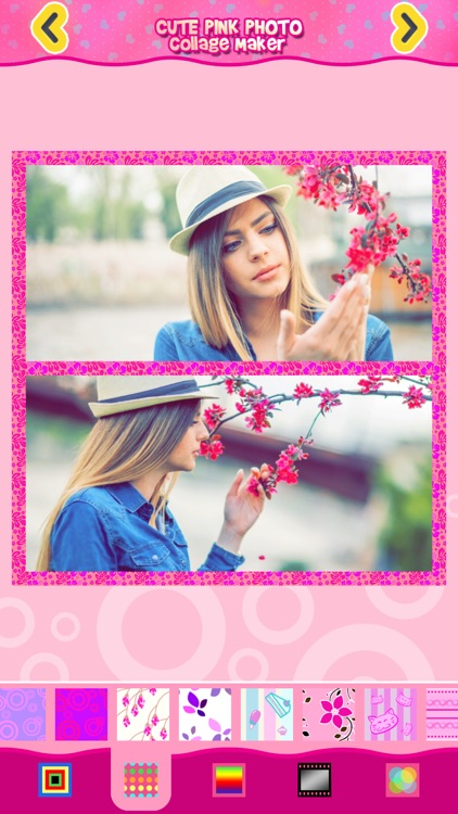 Cute Pink Photo Collage Maker: Adorable photo editor for girls with lots of photo frames, background color themes and photo filters screenshot-3