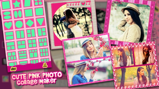 Cute Pink Photo Collage Maker Adorable Photo Editor For Girls With