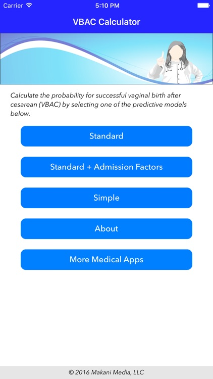 VBAC Calculator - Predict success rates for vaginal birth after cesarean screenshot-0