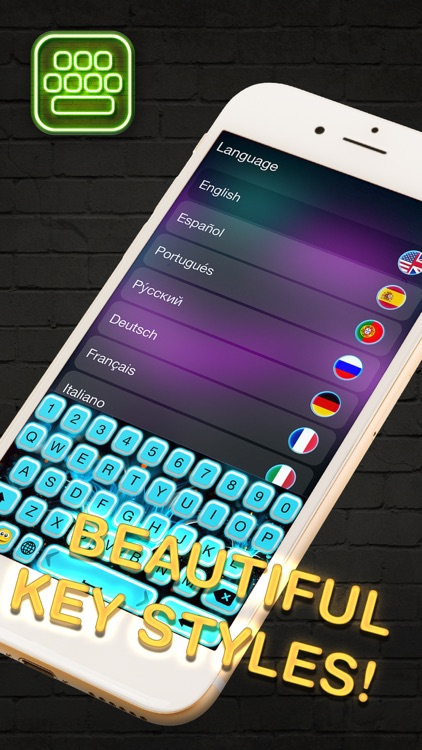 Neon LED Keyboard – Glow Keyboards for iPhone with Colorful Themes and Fonts