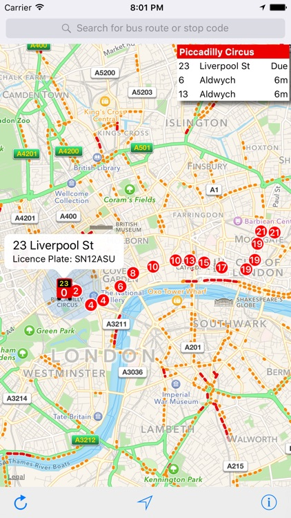 London Live Bus Map - Countdown and Arrivals screenshot-3