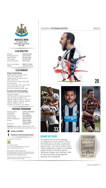 Newcastle United Official Programme