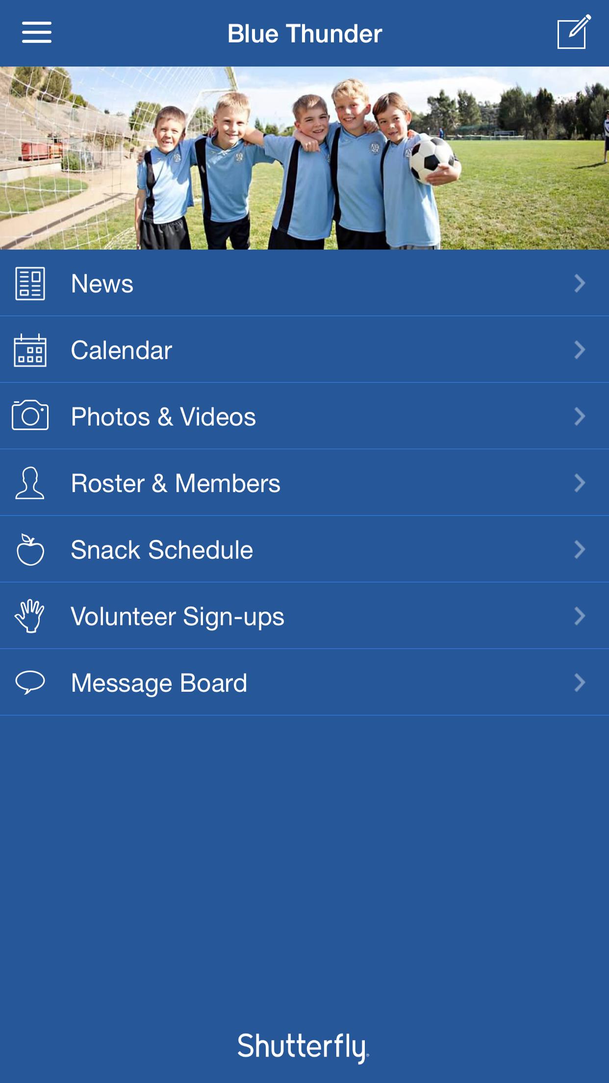 Shutterfly Share Sites Screenshot