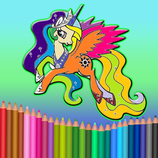 Pony Princess Coloring Book for Kids & Adults
