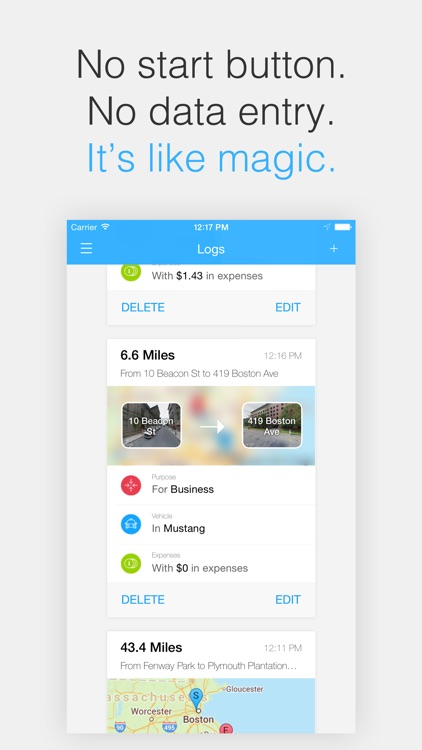 Magical Miles - Automatic Mileage Log and Auto Mile Tracker for Tracking Every Deduction and Expense