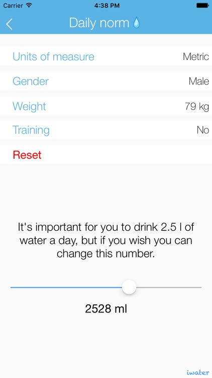 iwater LITE | Hydration daily tracker and drink water reminder for your body balance