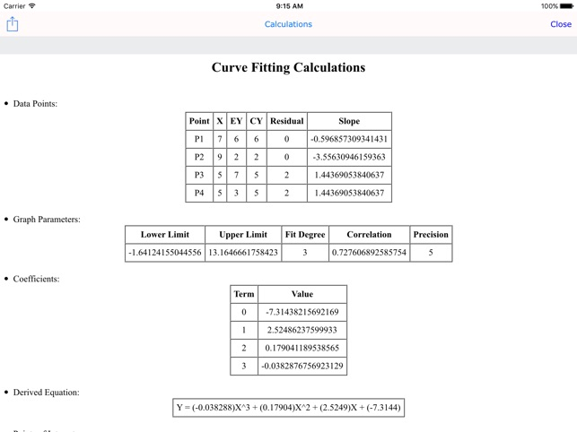 Curve Fit Graph Calc Lite on the App Store
