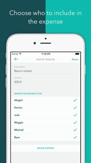 Vacation Group Expense Tracker Screenshot