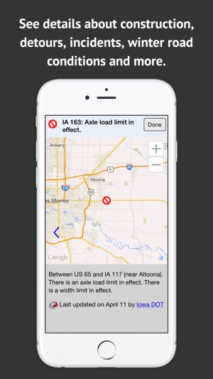 Road Conditions In Iowa Map.Iowa 511 Trk On The App Store