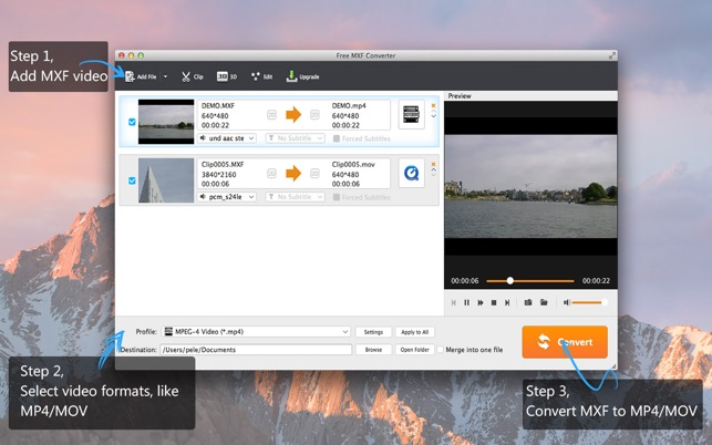 Free MXF Converter-MXF in andere Videos umwandeln Screenshot
