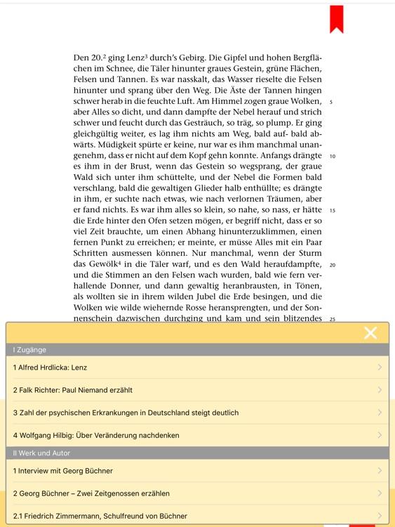 Lenz -  Edition.Hörbuch  Deutsch-Lektüren zum Lesen und Hören von Klett für Oberstufe und Abitur mit Zusatzmaterialien screenshot-3