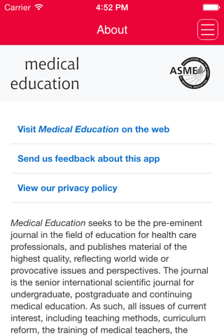 Screenshot of Medical Education Journal
