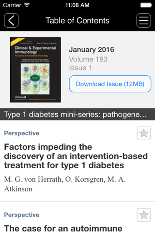 Screenshot of Clinical & Experimental Immunology