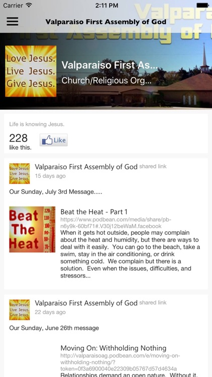 Valparaiso 1st Assembly of God by eChurch Apps