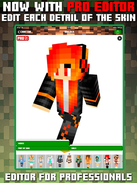 Craftor Pro Skins Creator For Minecraft PE PC App Price Drops - Skins para minecraft pe pc