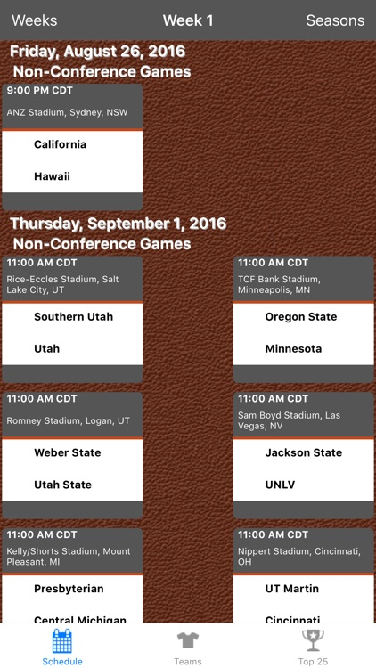 College Football Scores & Schedules