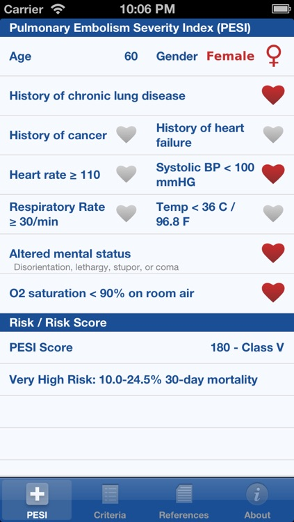 Pulmonary Embolism Severity Index (PESI) screenshot-0