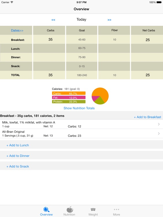 CarbsControl - Carb Counter, Carbs Tracker, Nutrition tracker for Diabetes and Low Carb Diets - iPad Version