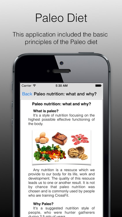 Paleo Diet - paleo diet basics, application which will introduce you to the basics of paleo nutrition. Sport diet or sport food.