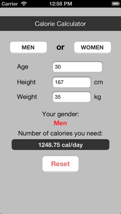 Calorie Counter (BMR)