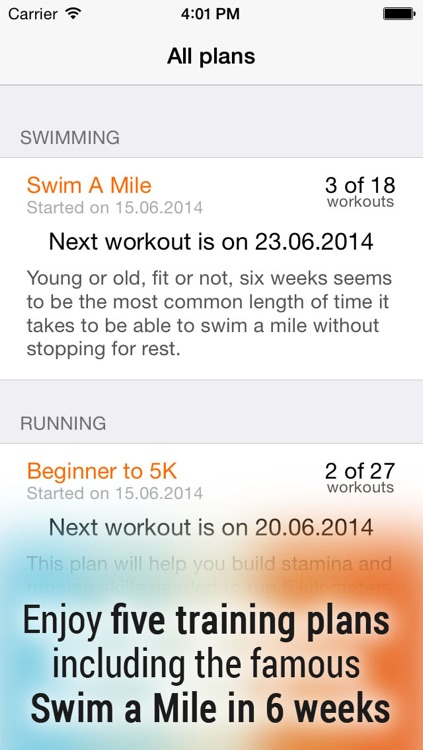 Swim! Bike! Run! : workout plans for swimming, cycling and running screenshot-0