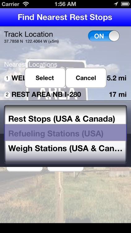 Find Nearest Rest Stops
