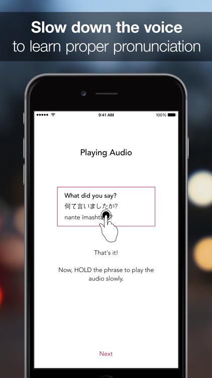 SpeakEasy Japanese ~ Offline Phrasebook and Flashcards with Native Speaker Voice and Phonetics screenshot-3