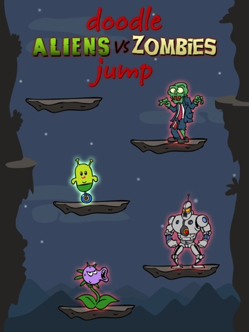 Screenshot #1 for Doodle Alien vs Zombies Jump Game - Heads Up While Also Killing The Pacific Rim Plants!