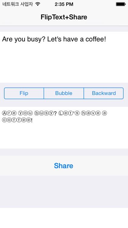 FlipText+Share on fb, twitter screenshot-3