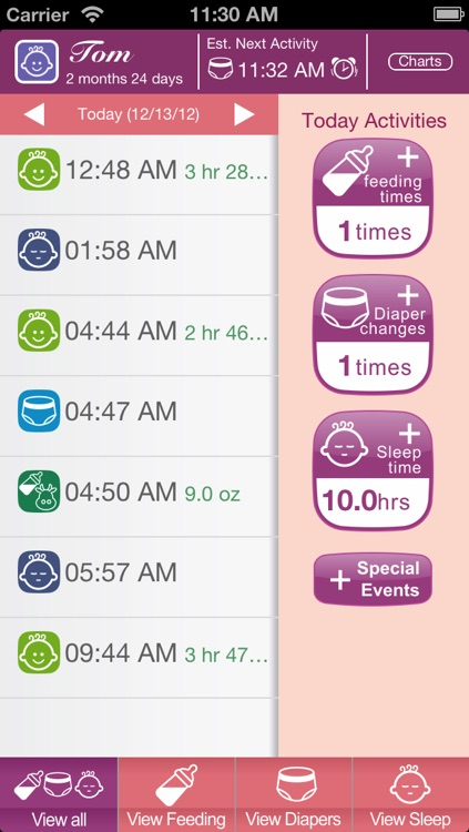 Baby Care (Feeding, Sleep and Diaper Track & Log for Newborn)