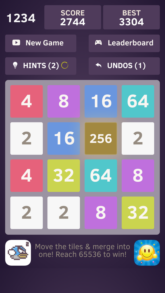 1234 - Number tiles merge puzzle game free