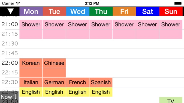 week table 15min weekly schedule timetable scheduler planner