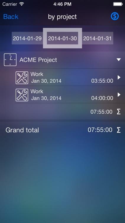 Time tracker - Live time Gold - timesheet screenshot-3